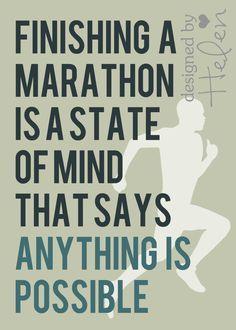 "5x7"" Quote Printable - ""Finishing a Marathon"". $3.95, via Etsy."