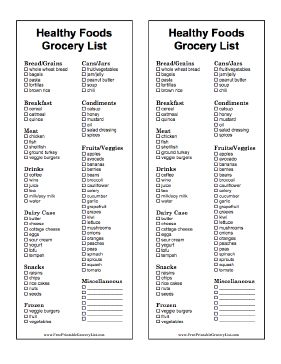 These two printable, black-and-white grocery lists have ...