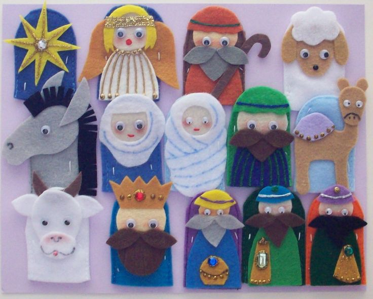 The First Christmas Finger Puppets. What an adorable idea! A child can do he whole play for the First Christmas (or nanna can perform it for her grandkids!) all by themselves with both hands! $ 12.00, via Etsy.