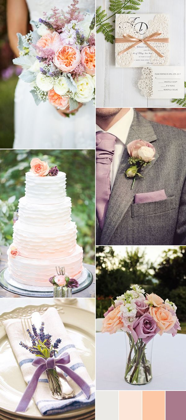 2017 mauve purple and peach wedding colors