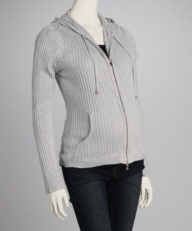 Take a look at this Gray Maternity Zip-Up Hoodie - Women by Lilo Maternity on #zulily today!