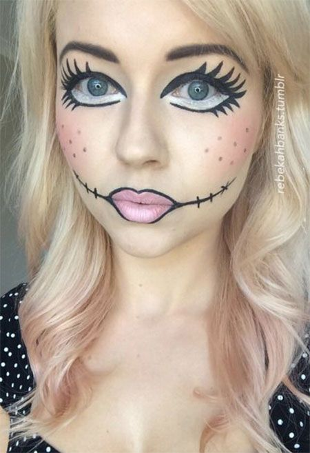 check out halloween doll face makeup ideas of these are a lot easier and you can imitate any of them by yourself - Fun Makeup Ideas For Halloween