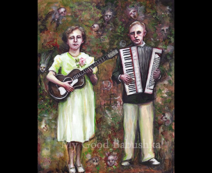 Frank and Lydia Have Ideas for Songs All Around Them, Original Painting, Music, Musicians, Guitar, Accordion, Surrealism, Fantasy, Duet by mygoodbabushka on Etsy