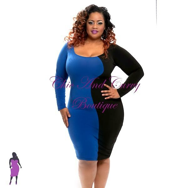 New Plus Size Bodycon Half And Half Black And Royal Blue