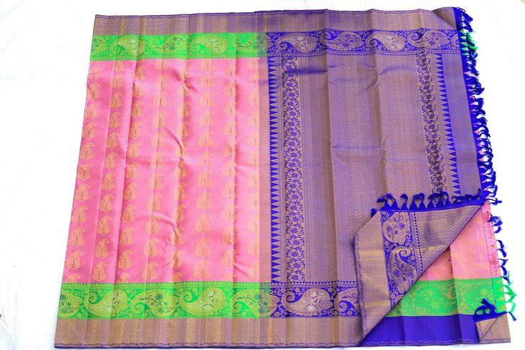 Baby pink Kanchipuram wedding saree from silk saree makers. You can buy at http://kanjivaramsilks.com/wedding-sarees-online/00abrid4518-borderless-silk-saree.html Tags: #weddingsarees #silksarees