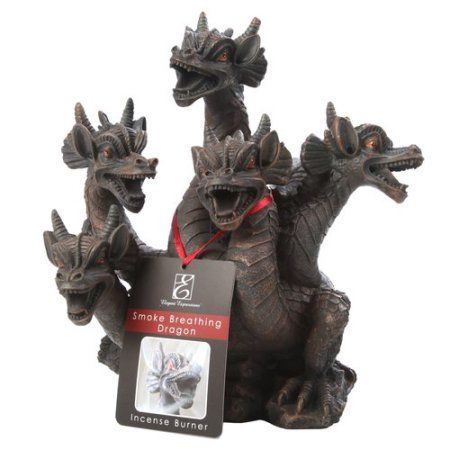 Elegant Expressions by Hosley 5-Headed Smoke Breathing Dragon Incense Burner, Brown