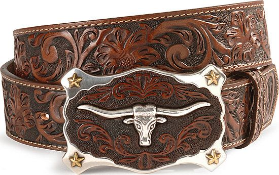 Justin longhorn buckle leather belt - reg & big