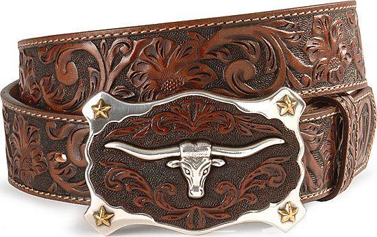 Justin longhorn buckle leather belt - reg & big