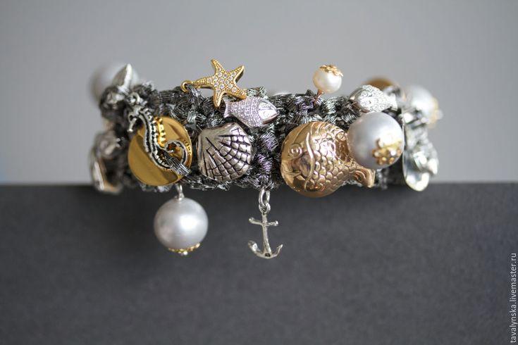 Купить серебряный браслет с золотой рыбкой (серебро) - серебряный, лана тавалинская, lana tavalynska