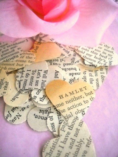 Vintage Shakespeare Paper Heart Confetti by vintagescrapshop, $2.00