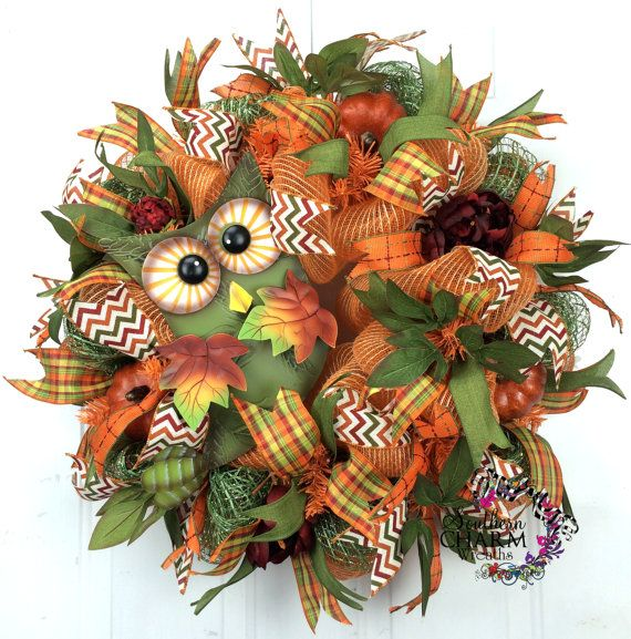 A deco mesh Fall burlap wreath with owl, peonies and pumpkins will make your your entry door warm and inviting this Fall.    This Fall