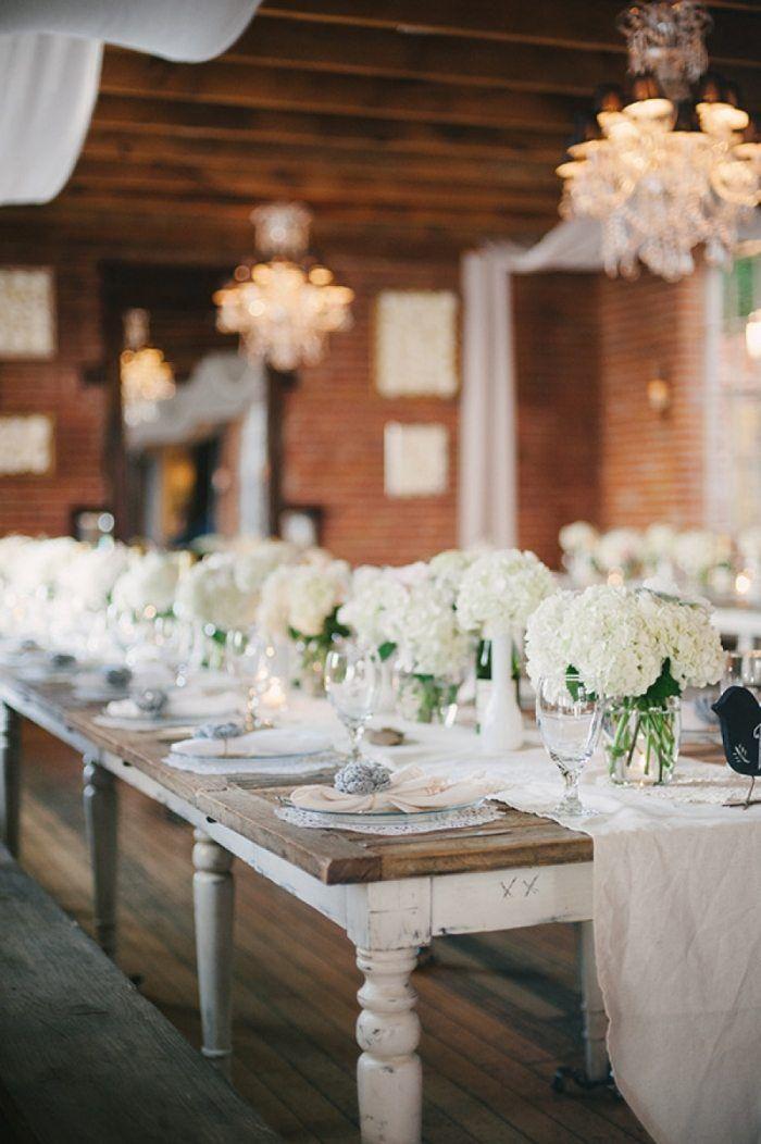 weiße Hochzeit mit rustikalem Flair Tischdekoration mit Hortensien   – Tischdeco