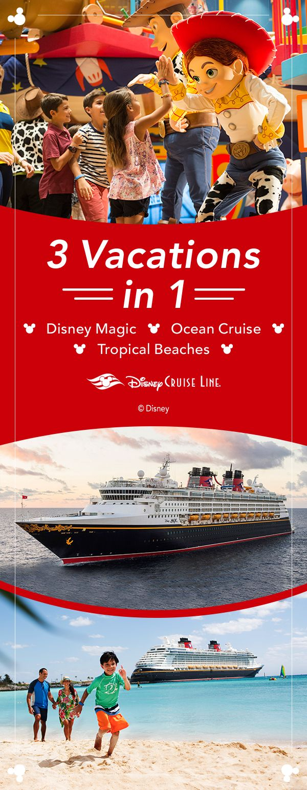 Get three incredible vacation in one when you book a 7-night Caribbean cruise with Disney Cruise Line. Set sail aboard a luxurious ship, enjoy the magic of Disney and sunbathe on white sand beaches.