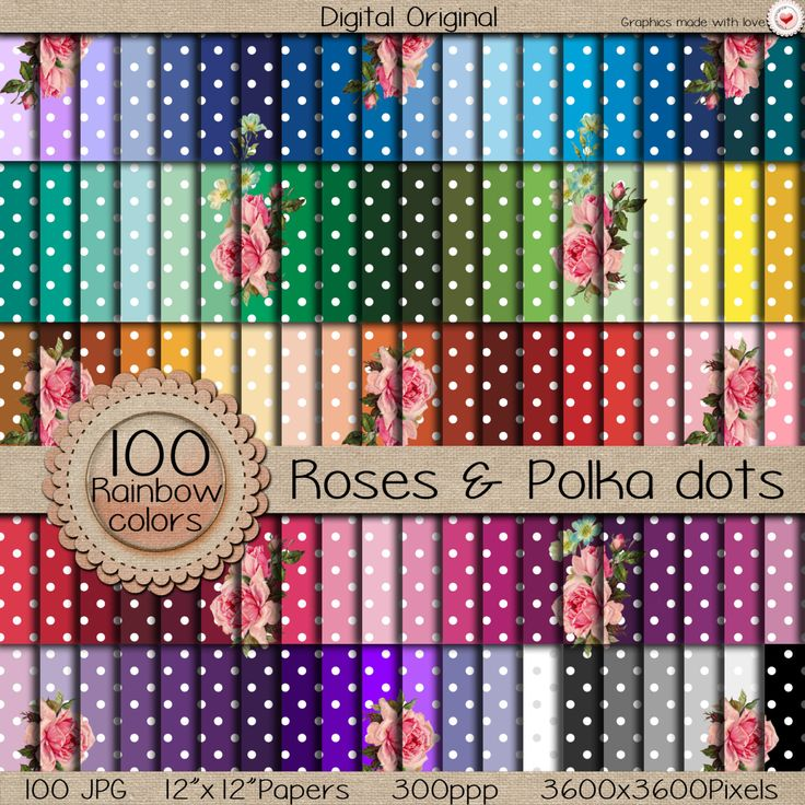 "100 Digital papers ""MEGA pack"" / Dots and roses  / 300 ppi  / instant download. de DigitalOriginal en Etsy"