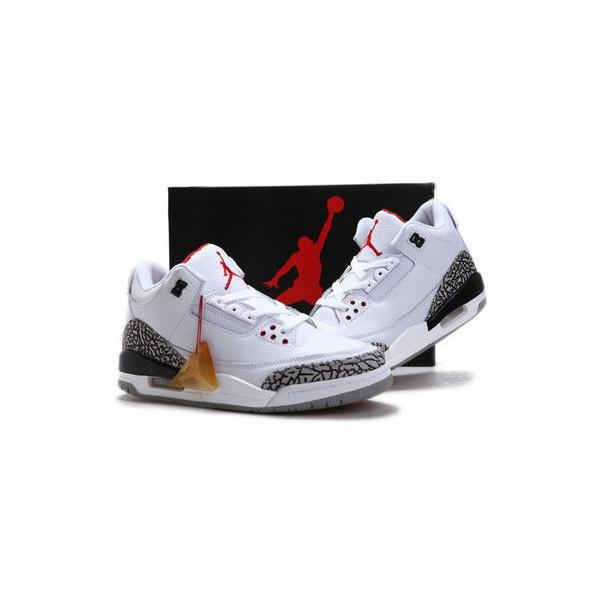 Nike Air Retro Jordan 3 III Basketball Shoes White Red... via Polyvore