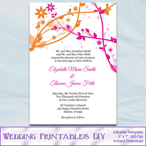 Floral Pink And Orange Wedding Invitation By