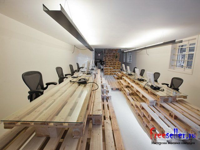 Как сделать офисные столы из поддонов