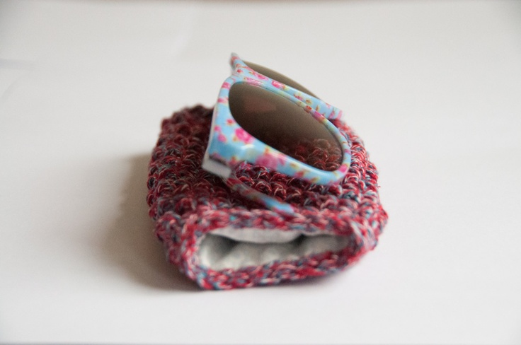 Crocheted sunglass pouch - red & blue. $25.00, via Etsy.