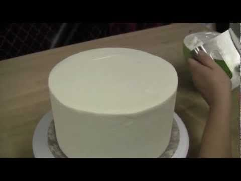 How To Ice A Cake With Straight Sides and Sharp Edges: The Krazy Kool Cakes Way - YouTube