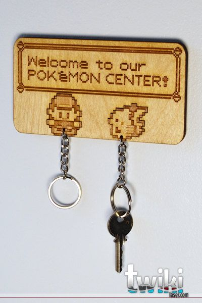 Laser cut and engraved Pokémon Center wall key by TwikiConcept -- SUPER WANT.