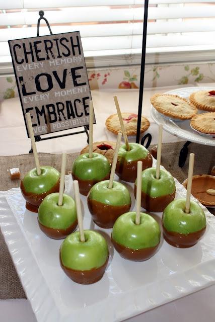 The Sweet Life Studio: Kellie's Rustic Fall Bridal Shower!  Carmel apples or apples and dip