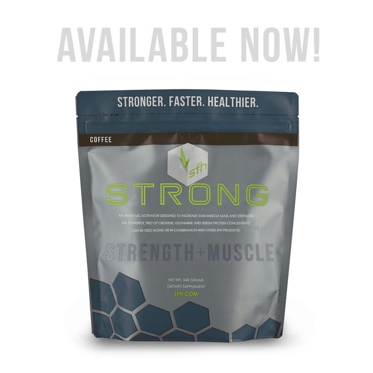 sfh STRONG is a combination of 5G creatine monohydrate, 5G L-Glutamine, 5G serum protein concentrate. Serum protein concentrate has the same quick absorption of Whey but is a heavier molecule. One of the many benefits of it's molecular weight is that it works as a carrier of other nutrients for more effiecient use.
