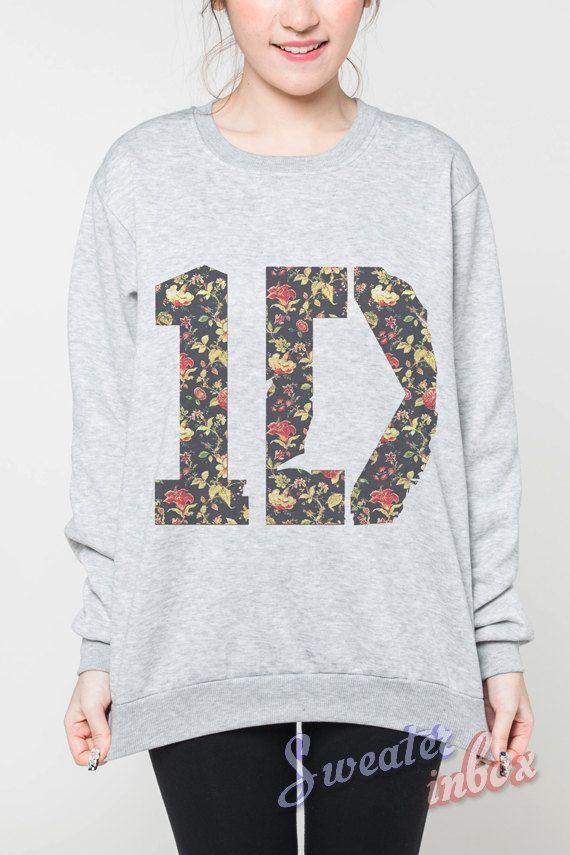 One Direction Sweatshirt 1D Flower Boy Band Music Tee Women Sweaters Grey Jumper T-Shirt Shirt Tshirt Unisex Long Sleeved Size S M L