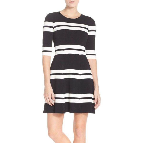 Eliza J Stripe Sweater Fit & Flare Dress (Regular & Petite) ($118) ❤ liked on Polyvore featuring dresses, petite dresses, flare dresses, sweater dresses, black and white sweater dress and striped sweater dress