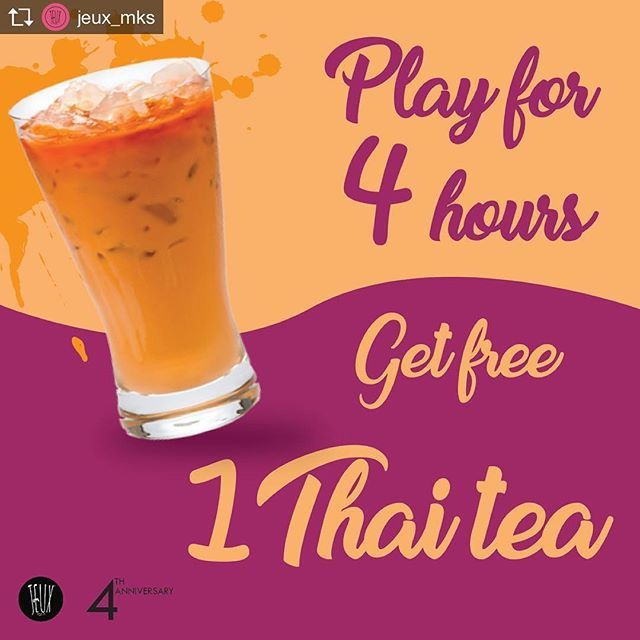Repost from @jeux_mks @TopRankRepost #TopRankRepost Main 4 jam dapat Thai Tea graaattiiisss #maingamesampaimati #jeuxanniversary #jeuxgame #makassar