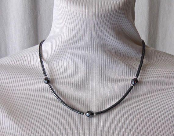 Vintage Hematite Necklace Spiral Cut Beads Hematite Necklace