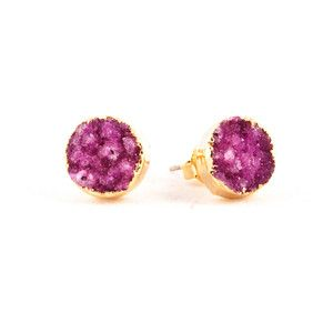 Ohrstecker Drusy Pink-Gold
