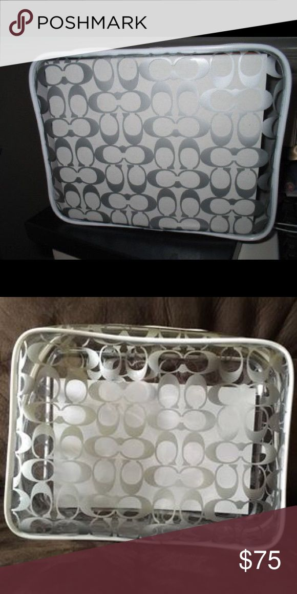 "NWT Coach Logo Signature C Clear Cosmetic Bag Case Approx measurements: 9.5""L x 7""H x 4""W. Translucent clear cosmetic case with silver grey CC print all over. Coach Bags Cosmetic Bags & Cases"