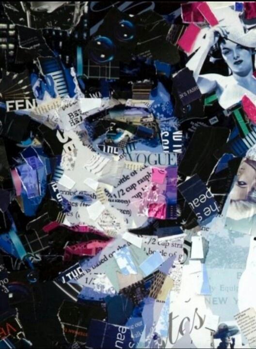 Louise Brooks? - Derek Gores   pink and blue collage female portrait. Magazine cutouts. Collage art.