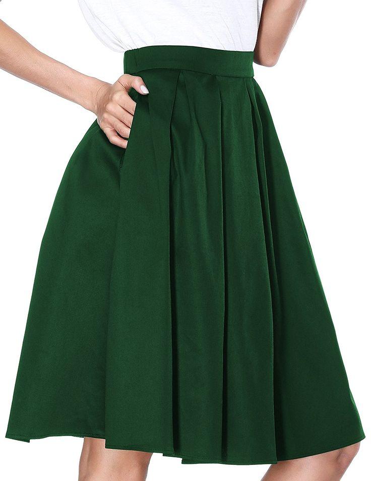 Janmid Women's High Waisted A Line Street Skirt Skater Pleated Full Midi Skirt at Amazon Women's Clothing store: