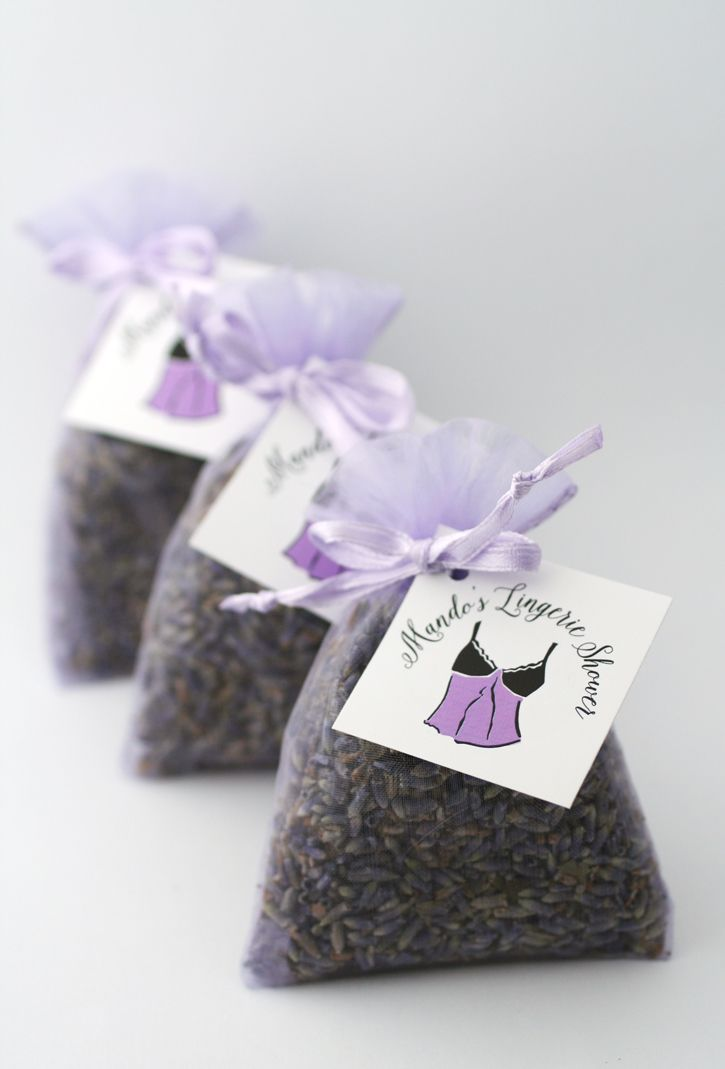 Lavender Lingerie shower favors with fragrant English lavender buds. Choose your own design and colors to share with your bridal shower guests.