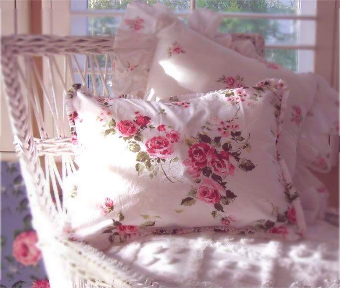 rachel ashwell shabby chic somerset roses wicker chair pillow sham