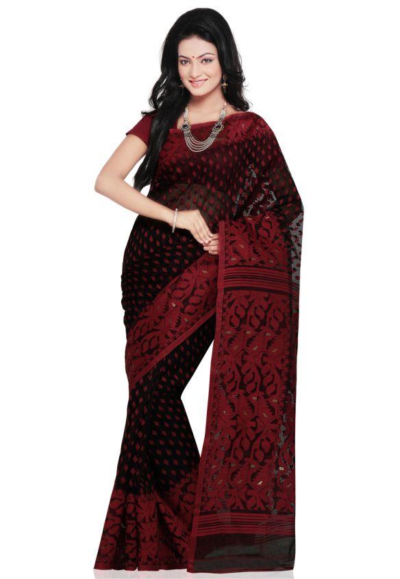 black-and-red-cotton-dhakai-jamdani-handloom-saree-with-blouse