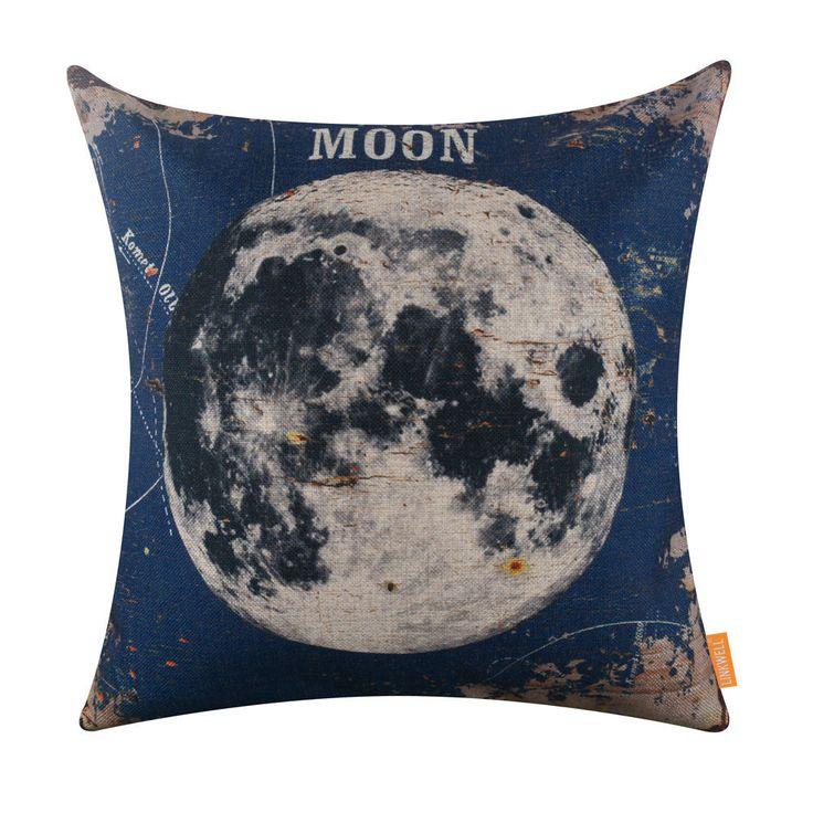 "18"" Vintage Blue Moon Natural Satellite Burlap Throw Pillow Case Cushion Cover"