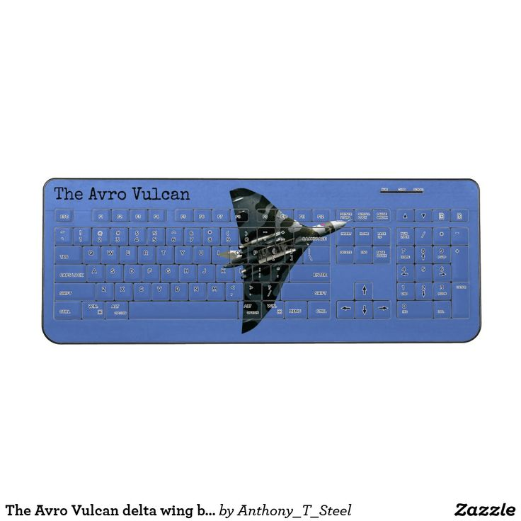 The Avro Vulcan delta wing bomber, personizable Wireless Keyboard This unique wireless keyboard is all over printed with a stunning photo of the Avro Vulcan delta wing strategic bomber. You can personalize it with your own name or words.