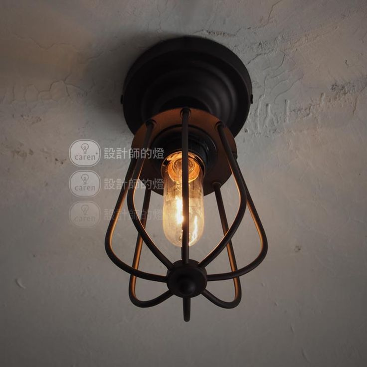 Permo industrial vintage iron line cage black filament wall sconce light lamp with edison bulb permo