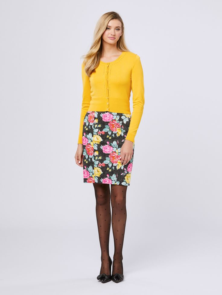 Garden Soiree Dress |Black/Multi  | Dresses Maggie Long Sleeve Cardi | Mustard | Cardigan