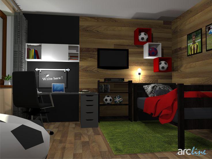 A new design for a boy-bedroom by Monika Jakubcova www.arcline.sk #interior, #interiordesign, #homedesign, #boysroom