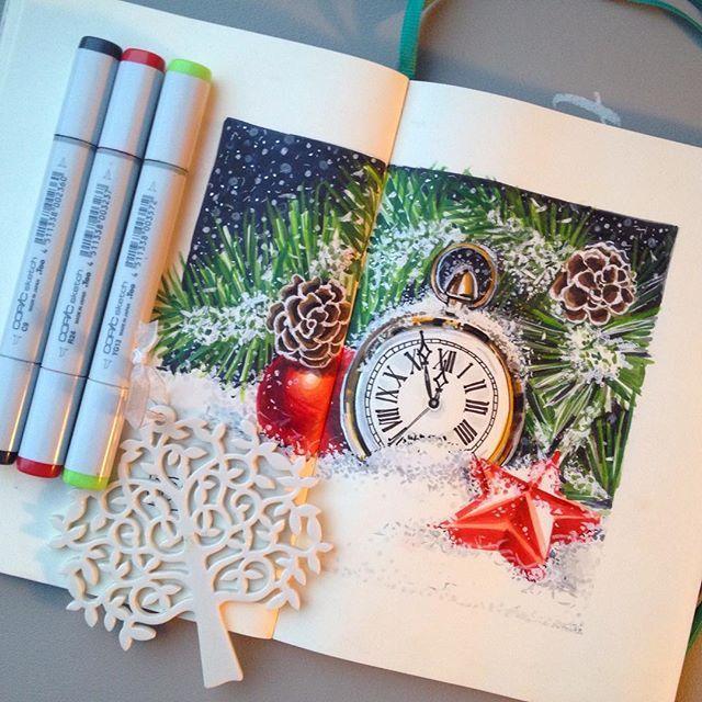 6/8 символы нового года. Для меня- это прежде всего часы, оповещающие нас о наступлении нового года!⏲#lk_newyear от @art_markers @miftvorchestvo @tsusketch. #newyear #happychristmas
