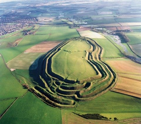Maiden Castle, Dorset, England  Maiden Castle, the largest and most complex Iron Age hill fort in Britain.