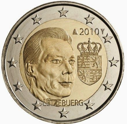 2 euro Luxembourg 2010, Coat of arms of the Grand Duke. 2 euro coins from Luxembourg