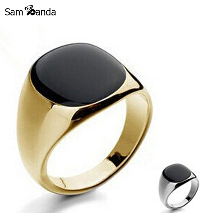 Size 7-12 Vintage Men Jewelry Stainless Steel Ring Fashion Minimalist Design Plated Gold Black Enamel Mens Rings sa779