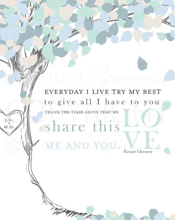 Wedding Song Lyric Art Kenny Chesney Me and You by PaperRamma