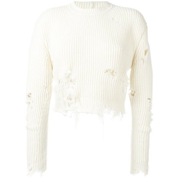 Yeezy Season 3 destroyed cropped boucle jumper ($713) ❤ liked on Polyvore featuring tops, white, round neck crop top, long sleeve tops, distressed top, ripped tops and white crop top