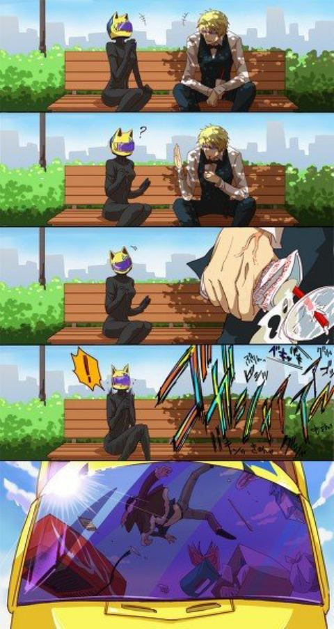 Puhahahaha!! Exactly how it always went down with these 3!rofl Durarara!!