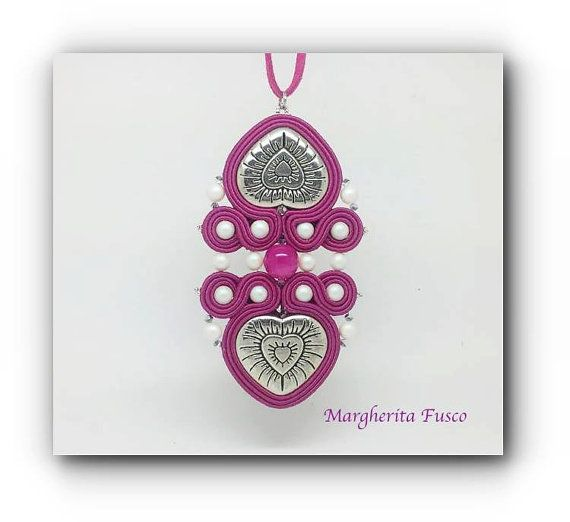 Handmade OOAK soutache pendant Twin Hearth by 75marghe75 on Etsy